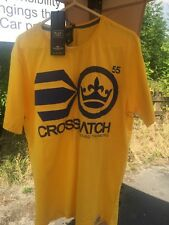 Brand New Mens Crosshatch Yellow Cotton Short Sleeve T-Shirt Small