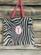 "Zebra Print Tote Bag Purse Book Shopping Beach Gym Pink ""T"" Monogram Handles"
