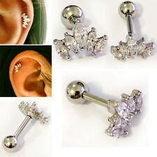 18G 8mm Length 5 Crystal Bend Helix Cartilage Ear Piercing Silver Bar Barbell OS