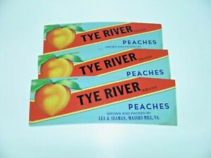 Lot of 10 Vintage Can Labels Or Basket TYE RIVER BRAND Peaches Massies Mill V.A.