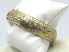 "Vintage Floral Wide Hinged Bracelet, Safety Chain, 6.75"", Gold Tone, 1970's"