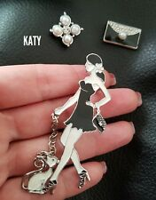 Vintage Style 3pcs Large Black Enamel Pearls Diamante Lady and Cat BROOCH Pin