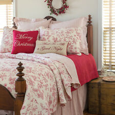 RED TOILE Full Queen QUILT : EVERGREEN CARDINAL BIRDS BERRY HOLLY CHRISTMAS