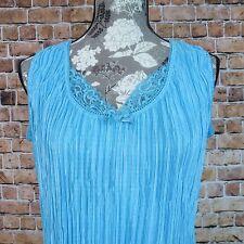 Fashion 2 Fashion Women Tank Top Size XL Ruff Lace Blue Made In USA