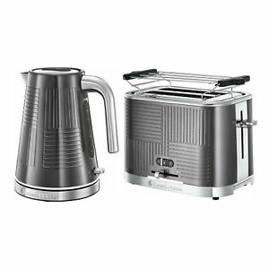 RUSSELL HOBBS Wasserkocher + Toaster Geo Steel Frühstücks Set Edelstahl Design