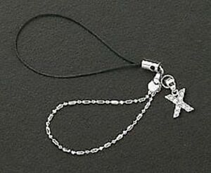 Dangle Letter X Crystal Cell Phone Charm 925 Sterling Silver For Mobile Phone