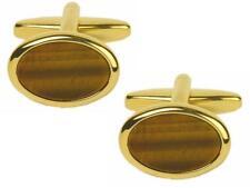 Tigers Eye Oval Gold Plated Cufflinks in Presentation Box & 2 Year Guarantee