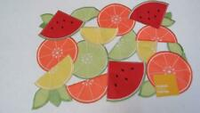 Summer Fruit Slices Sculptured w/Cut Outs Rectangle Placemat NEW