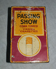 ORIGINAL VINTAGE AD SIGN LITHO PRINTED PASSING SHOW CIGARETTES TIN BOX ,ENGLAND