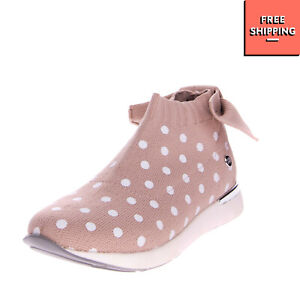 GIOSEPPO Knitted Sneakers Mismatch Size L 30 R 29 Polka Dot Pattern Bow Slip On