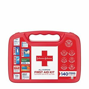 Johnson & Johnson All-Purpose First Aid Kit, Portable Compact First Aid Set for