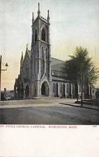 Antique Postcard c1905-07 St. Pauls Catholic Church Worcester, Ma 15337