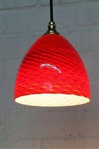 Vintage Ceiling Light Murano Italian Red Spun Glass Pendant & Fittings 1