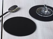 Set of 6 BLACK ROUND Leatherboard COASTERS