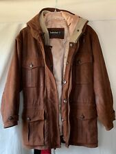 Timberland Weathergear Woman's Brown Lambskin Leather Coat Medium Hooded Heavy