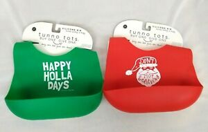 2 New Tunno Tots Silicone Kids Bibs Christmas Happy Holla Days/Don't Stop