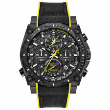 Bulova Precisionist Chronograph 98B312 46.5mm Black Stainless Steel Case Black Yellow Rubber Band