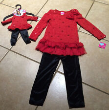 "What A Doll  NWT 4/5 Red Holiday Tunic Dress Leggings 18"" Doll Matching Outfit"