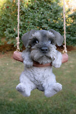 "Schnauzer Puppy Dog Hanging Swing Figurine Tree Ornament Garden Decor Resin 5"""