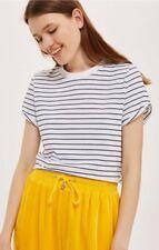 TopShop - Navy Stripe Cropped T-Shirt - Size 14 - BNWT