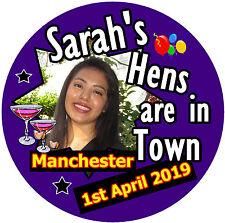 20 X HEN PARTY BADGES - BIG PERSONALISED BADGE, PHOTO - NAMES - BRAND NEW