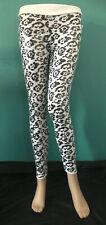 Ladies Cotton Mix Black & White Leopard Print Sequin Leggings Size S