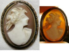 Ancien Bijoux camée, Broche, pendentif profil d'une femme Antique