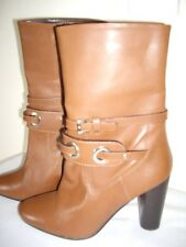 BNWT NEXT TAN BROWN LEATHER MID CALF HEELED BOOTS SIZE UK 6.5 EU 40 COST £80