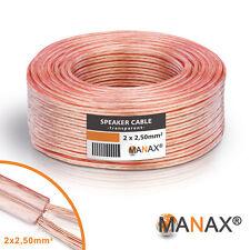 30m Lautsprecherkabel (Single-Wire) 2x2,5mm² CCA Transparent Metermarkierung