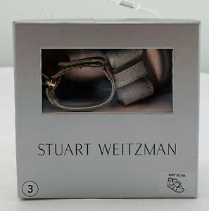 NWT New Stuart Weitzman Size 3 Sandals Gold with Silver Bow FREE SHIPPING