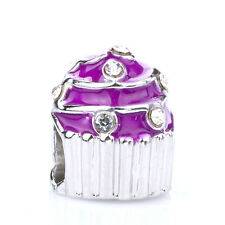 925 Silver Cupcakes Purple CZ Crystal Loose Spacer Charm Bead Fit Bracelet