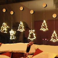 KQ_ Christmas LED Star Bell Snowman Santa Suction Cup Light Home Window Decor  A