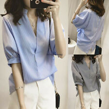 Summer Women Korean Striped V Neck Batwing Short Sleeve Casual Tops Blouse Shirt
