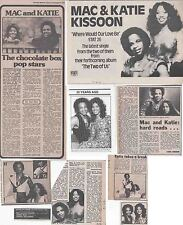MAC & KATIE KISSOON : CUTTINGS COLLECTION -adverts interview-