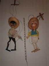 Lot of 2 Vintage Mexican Puppets Marionette Bandito With Gun and Grandpa