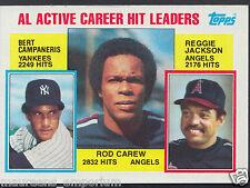 Tarjeta de béisbol Topps 1984-no 711-Bert Campaneris/Rod Carew/Reggie Jackson