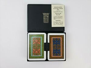 Vintage KEM Arabesque Pattern Pinochle Playing Cards Double Deck in Case