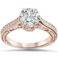 1 1/4ct Vintage Rose Gold Diamond (1ct center) Enhanced Deco Engagement Ring 14K