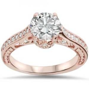 1 1/4ct Vintage Rose Gold Diamond (1ct center) Enhanced Deco Engagement Ring 14K