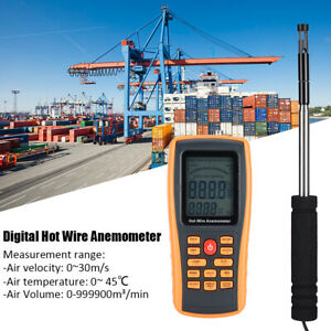 Digital Anemometer Handheld Portable Hot Wire Wind Speed Temperature Meter With