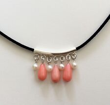 HANDMADE PINK CORAL FRESHWATER PEARL 925 STERLING SILVER BLACK SUEDE PENDANT NEW