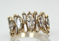 ESTATE 14K YELLOW GOLD 1/2 SHANK DIAMOND RING MARQUISE & BAQUETTES TCW 2.22 S6.5