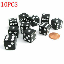 Set of 10 Six Sided Square Opaque 14mm D6 Dice - Black with White Pip Die