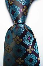 New Classic Floral Black Sea Blue Purple JACQUARD WOVEN Silk Men's Tie Necktie