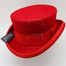 VINTAGE Wool Felt Topper Top Hat Men FORMAL Tuxedo Victorian Short | 59cm | Red