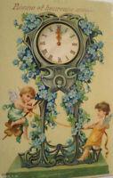 Neujahr, Engel, Uhr, Blumen, 1909 ♥ (17284)