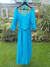 VINTAGE 1970s TURQUOISE BLUE LACE MAXI EVENING PARTY DRESS-12/14/SMALL WAIST 16