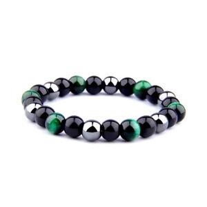 Natural Stone Galaxy Universe Beaded Bracelet Men Elasticity Bangle Jewelry