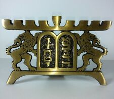Hen Holon Israel Menorah Lions of Judah Brass Signed Modernist Brutalist Judaism
