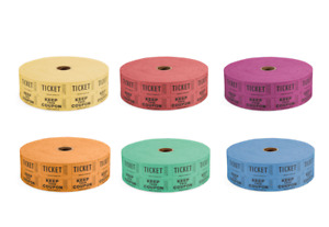 100 x Raffle Tickets, Admission Double Tickets. Available in various colours.